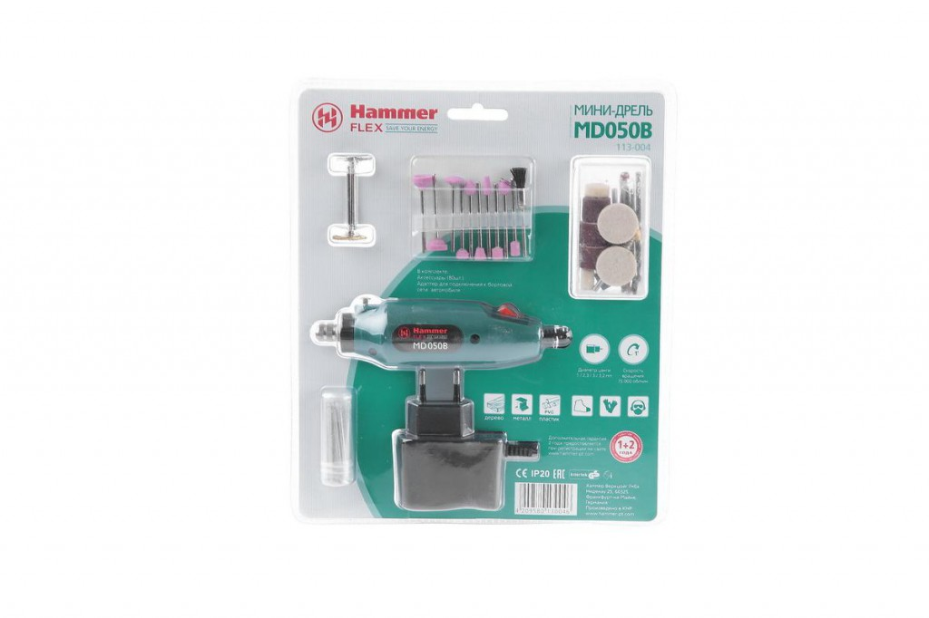 дрель мини hammer flex md050b 12в